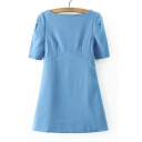 Elegant Boat Neck 1/2 Sleeve Mini Dress
