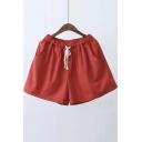 Plain Drawstring Waist Loose Shorts