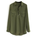 Dark Green Lapel Tie-Neck Long Sleeves Loose Blouse with Pockets