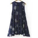 Cutout Neck Printed Sleeveless Cotton Asymmetrical Dress