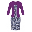 Notched 3/4 Sleeve Leopard Pattern Print Bodycon