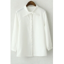 Tie-Neck Plain Puff Sleeve Buttondown Blouse