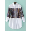 Color Block Half Placket Collared Blouses