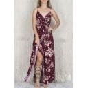 Surplice Floral Print Maxi Cami Dresses