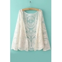 Fashion Women Casual Clothes Sunflowers Crochet Lace Beige Highquality Shirt&Blouse