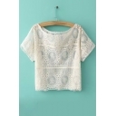 Boat Neck Short Sleeves Lace Sheer Short Blouse&Tee