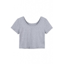 Fashion Scoop Neck Short Sleeves Crop Tee&Crop Tops