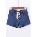 New Design Lace Up Front Plain Denim Shorts