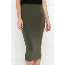 Women's Elastic High Waist Plain Bodycon Midi Skirts