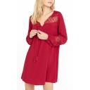 Plain Lace Insert String Neck Long Sleeves Tunic Dress