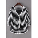 Simple Fashion V-Neck 3/4 Sleeve Striped Button Down Pockets Knit Sweater&Knit Cardigan