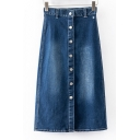 High Waist Button Through Maxi Bleach Denim Skirts