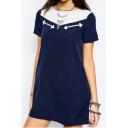 Navy Blue Color Block Patchwork Zipper Back Shift Dress