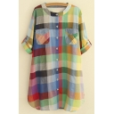 Colorful Round Neck Long Sleeves Button Down Long Shirts&Blouse
