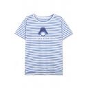 Stripes Cartoon Print M-Slit Drop Shoulder T-Shirt