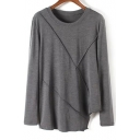 Round Neck Long Sleeves Casual Asymmetrical Hem Tee