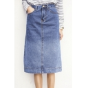 Column Gradient Wash Split Hem Denim Midi Skirt