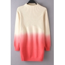 Gradient Detailed High Neck Long Sleeves Sweater