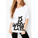 White Letter Print Half Sleeves Loose-Fit T-Shirt