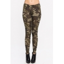 Women's Elastic Mid Waist Camo Fitted Skinny Leggings