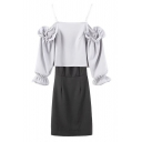Cold Shoulder Split Back Blouse Elastic Waist Tube Skirt Co-ords
