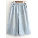 Elastic High Waist Two Pockets Front Wide Leg Loose Deinm Crop Pants Jeans
