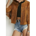 Round Neck 3/4 Sleeves Tassel Embellish Short Coats