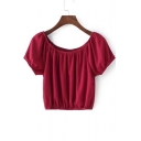 Double Scoop Neck Short Sleeves Elastic Hem Loose Cropped Tops