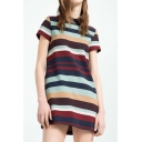 Simple Style Fashion Lapel Striped Color Block Short Sleeve Casual Midi Dress