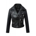 Notched Lapel Long Sleeve Metal Button Embellish PU Zipper Biker Jacket