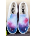Hand-Painted Mysterious Galaxy Canvas Round Toe Sneakers For Women