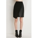 Black Sexy Zipper Back Asymmetric Skirt