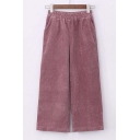Chic Elastic Waist Corduroy Wide Leg Plain Crop Pants