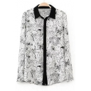 Contrast Lapel Character Print Button Sown Shirt