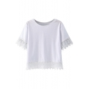 White Plain Lace Crochet Trim Round Neck Cropped T-Shirt
