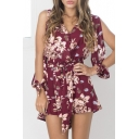 Open Shoulder Floral Print Tie Waist Rompers