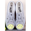 Hand-Painted Cartoon Totoro Canvas Platform Sneakers For Women