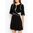 Mono Patchwork Piping Cut Out Front Half Sleeves Skater Dress