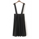 Plain Pleated Midi Skirt with Straps on Shoulder