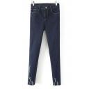 Five Pockets Ripped Hem Elastic Skinny Jeans