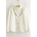 Ruffle Stand Collar Long Sleeves Flowers Embroidery Button Through White Blouse&Shirts