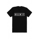 Young Style Street Fashion Round Neck Letter Print Short Sleeve Long Tee