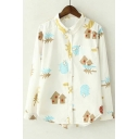 Kawaii Lapel Long Sleeve Cartoon Print Button Through Shirts