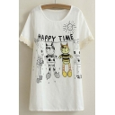 Scoop Neck Funny Cartoon Print Short Sleeves Tee with Lace Embellish