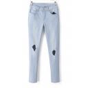 Ripped Light Wash Regular Rise Slim Leg Jeans