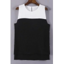 Paneled Round Neck Sleeveless Top