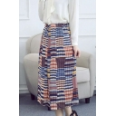 Gathered Paneled Check Pleated Maxi Skirt