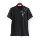 Cartoon Embroidery Stand Collar Zipper Back T-Shirt