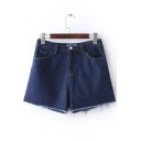 Basic 5 Pockets Frayed Edged Denim Shorts