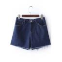Basic 5 Pockets Frayed Edged Denim Shorts